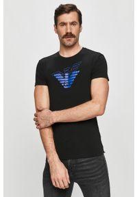 Czarny t-shirt Emporio Armani z nadrukiem, na co dzień, casualowy