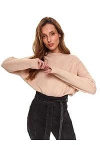 TOP SECRET - Beżowy pudełkowy sweter. Kolor: beżowy. Materiał: tkanina. Długość rękawa: długi rękaw. Długość: długie. Wzór: aplikacja. Sezon: wiosna. Styl: elegancki