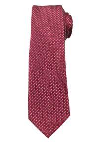 Bordowy Elegancki Krawat -Angelo di Monti- 6 cm, Męski, Drobny Wzór Geometryczny. Kolor: czerwony. Wzór: geometria. Styl: elegancki