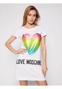 Love Moschino - LOVE MOSCHINO Sukienka codzienna W592914M 3876 Biały Regular Fit. Okazja: na co dzień. Kolor: biały. Typ sukienki: proste. Styl: casual