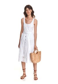 DRYWASH - Ażurowa spódnica midi z wiązaniem w pasie. Okazja: na co dzień. Kolor: biały. Materiał: bawełna, tkanina. Wzór: ażurowy. Sezon: lato. Styl: casual
