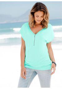 T-shirt z zamkiem, krótki rękaw bonprix pastelowy miętowy. Kolor: zielony. Materiał: elastan, wiskoza, poliester, materiał. Długość rękawa: krótki rękaw. Długość: krótkie