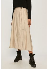 DKNY - Dkny - Spódnica. Kolor: szary. Materiał: tkanina. Wzór: gładki