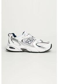 Szare sneakersy New Balance na sznurówki, z okrągłym noskiem, z cholewką