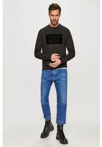 Czarna bluza nierozpinana Calvin Klein z aplikacjami, na co dzień, casualowa, bez kaptura