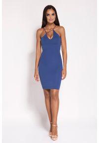 Dursi - Niebieska Sukienka na Cienkich Ramiączkach z Biżuteryjnym Akcentem. Kolor: niebieski. Materiał: nylon, elastan. Długość rękawa: na ramiączkach