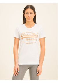 Superdry T-Shirt Premium Goods Luxe Emb Entry Tee W1000067A Biały Classic Fit. Kolor: biały