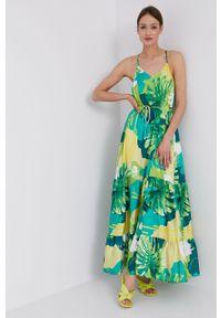 Zielona sukienka Guess prosta, na ramiączkach, maxi