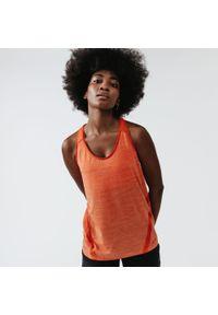 KALENJI - Koszulka do biegania bez rękawów damska Kalenji Run Light. Kolor: pomarańczowy. Materiał: elastan, poliester, materiał. Długość rękawa: bez rękawów. Sport: bieganie
