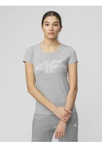 4f - T-shirt damski. Kolor: szary. Materiał: bawełna. Wzór: nadruk