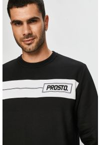 Czarna bluza nierozpinana Prosto. z aplikacjami, bez kaptura, na co dzień