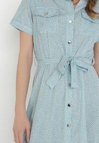 Born2be - Miętowa Sukienka Zaehtila. Kolor: miętowy. Materiał: tkanina. Długość rękawa: krótki rękaw. Typ sukienki: koszulowe. Długość: midi