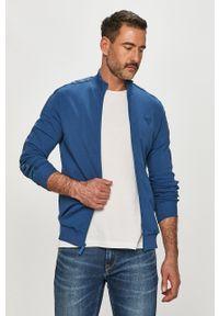 Niebieska bluza rozpinana Guess na co dzień, z aplikacjami, bez kaptura, casualowa