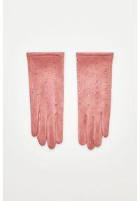 Różowe rękawiczki MOODO z aplikacjami