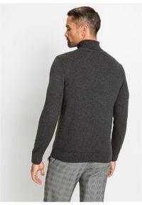 Sweter z golfem z kaszmirem bonprix ciemnoszary melanż. Typ kołnierza: golf. Kolor: szary. Materiał: materiał, bawełna, kaszmir. Wzór: melanż. Styl: elegancki