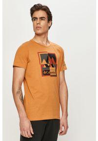 columbia - Columbia - T-shirt. Okazja: na co dzień. Kolor: pomarańczowy. Materiał: dzianina. Styl: casual