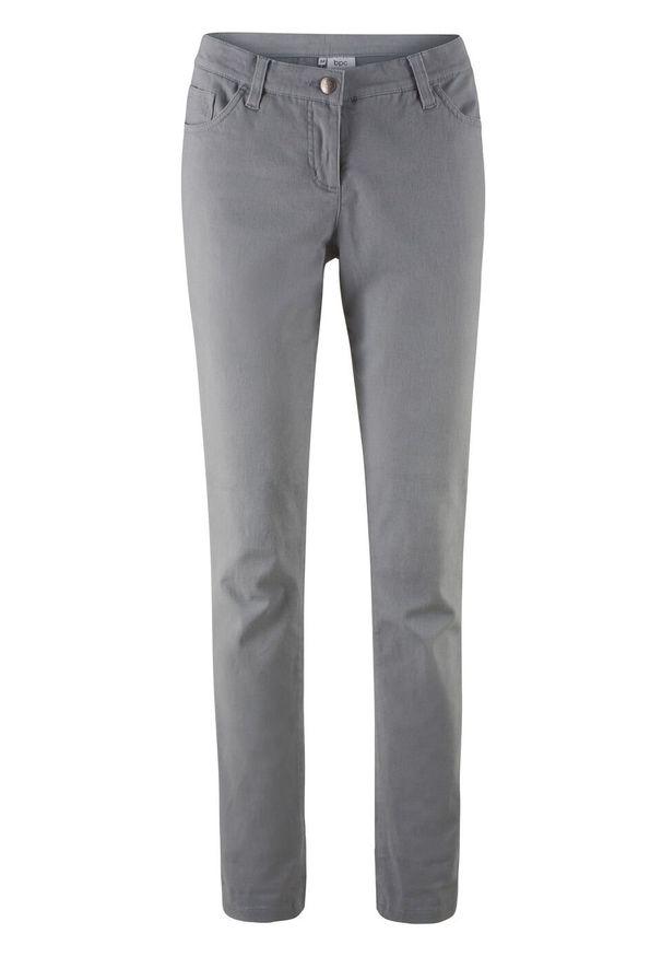 Spodnie ze stretchem Slim Fit bonprix szary. Kolor: szary. Materiał: bawełna