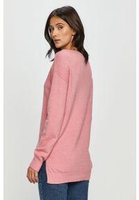 Różowy sweter Vila z długim rękawem, długi, gładki