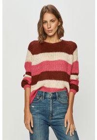 Różowy sweter only z okrągłym kołnierzem, długi, z długim rękawem