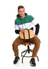 TOP SECRET - Bluza nierozpinana męska nierozpinana. Kolor: zielony. Materiał: materiał. Długość: długie. Sezon: jesień