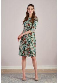 Marie Zélie - Sukienka Asteria Flores. Materiał: bawełna, wiskoza, materiał, elastan, skóra. Wzór: gładki. Typ sukienki: trapezowe. Styl: klasyczny