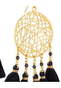 MOKOBELLE - Wiszące kolczyki z chwostami Amelia. Materiał: srebrne, pozłacane, złote. Kolor: czarny