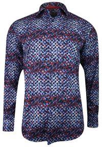 Niebieska elegancka koszula Bello na spotkanie biznesowe, w kolorowe wzory