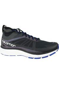 Czarne buty do biegania salomon w kolorowe wzory, z cholewką