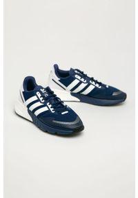 Niebieskie sneakersy adidas Originals Adidas ZX, z okrągłym noskiem, na sznurówki, z cholewką #5