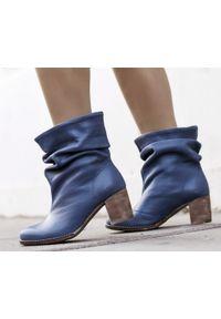 Niebieskie botki Zapato na spotkanie biznesowe, z okrągłym noskiem, wąskie