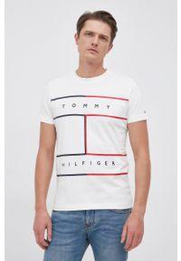 TOMMY HILFIGER - Tommy Hilfiger - T-shirt bawełniany. Okazja: na co dzień. Kolor: biały. Materiał: bawełna. Styl: casual