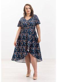Niebieska sukienka Moda Size Plus Iwanek casualowa, na co dzień
