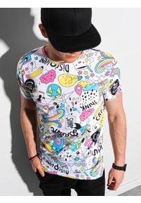 Ombre Clothing - T-shirt męski z nadrukiem S1421 - biały - XXL. Kolor: biały. Materiał: jeans, poliester, bawełna. Wzór: nadruk. Sezon: wiosna