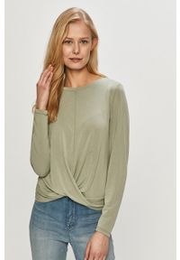 Zielona bluzka z długim rękawem only na co dzień, casualowa, gładkie