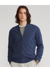 Ralph Lauren - RALPH LAUREN - Granatowa bluza z suwakiem. Typ kołnierza: polo. Kolor: niebieski. Materiał: jersey, tkanina. Wzór: haft