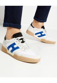 Hogan - HOGAN - Białe sneakersy H357. Okazja: na co dzień. Kolor: szary. Materiał: tkanina, zamsz, guma. Wzór: aplikacja. Sezon: lato. Obcas: na płaskiej podeszwie. Sport: tenis