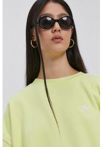 adidas Originals - Bluza bawełniana. Kolor: żółty. Materiał: bawełna. Długość rękawa: długi rękaw. Długość: długie