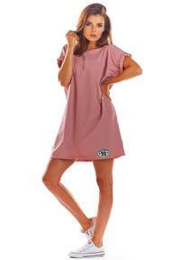 e-margeritka - Sukienka bawełniana na lato różowa - uni. Okazja: na co dzień. Kolor: różowy. Materiał: bawełna. Sezon: lato. Styl: wakacyjny, casual. Długość: mini