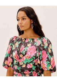 For Love & Lemons - FOR LOVE & LEMONS - Sukienka w kwiaty Jolie. Kolor: czarny. Materiał: satyna. Wzór: kwiaty. Typ sukienki: dopasowane. Długość: mini