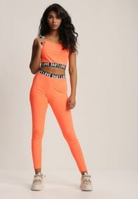Renee - Pomarańczowy Komplet Sportowy Dwuczęściowy Iphisieth. Kolor: pomarańczowy. Wzór: napisy, aplikacja, nadruk