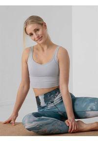 4f - Top do jogi z materiałów z recyklingu damski. Kolor: szary. Materiał: materiał. Sport: joga i pilates