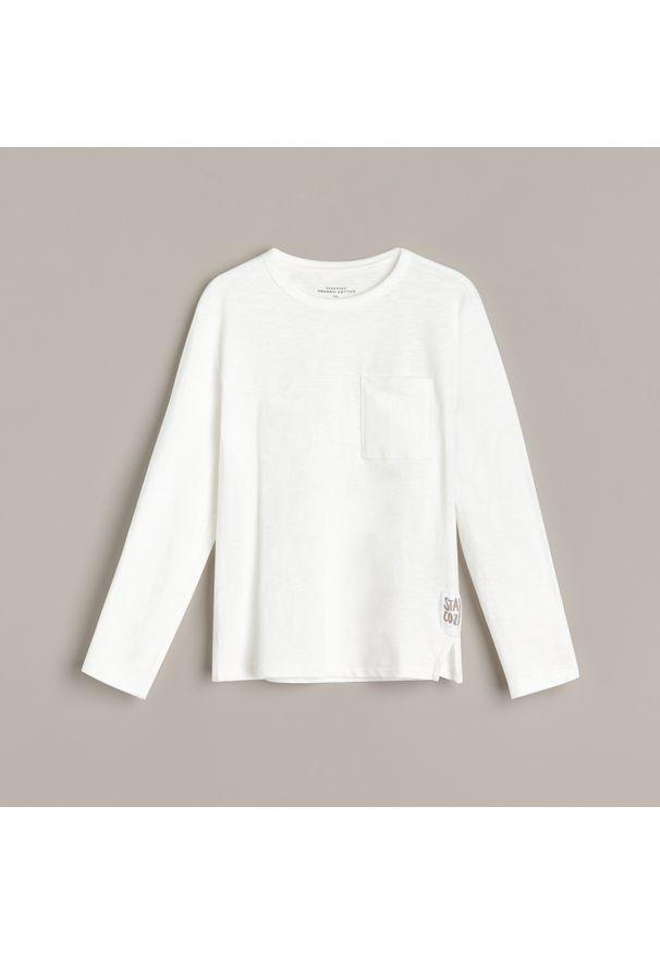 Kremowa koszulka z długim rękawem Reserved