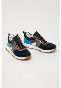 Niebieskie buty sportowe Guess z cholewką, na sznurówki, z okrągłym noskiem