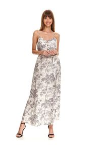 Biała sukienka TOP SECRET z nadrukiem, midi