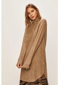 Beżowy sweter Pieces raglanowy rękaw, casualowy, na co dzień, z golfem