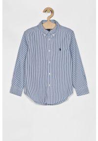 Niebieska koszula Polo Ralph Lauren na co dzień, casualowa, długa, button down