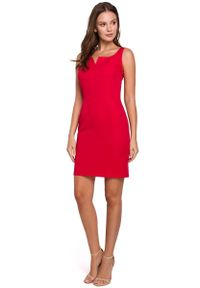 MAKEOVER - Czerwona Dopasowana Krótka Sukienka na Szerokich Ramiączkach. Kolor: czerwony. Materiał: poliester, elastan. Długość rękawa: na ramiączkach. Długość: mini