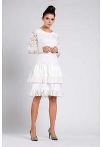 Sukienka wizytowa Nommo wizytowa, w koronkowe wzory