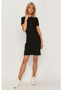 Czarna sukienka Lacoste mini, z krótkim rękawem, casualowa