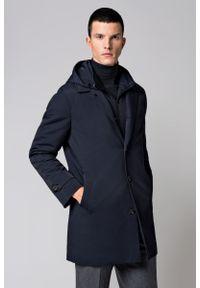 Niebieski płaszcz Lancerto casualowy, z kapturem